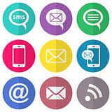 Communication flat icons
