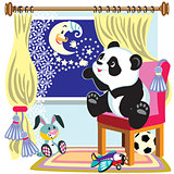 cartoon panda and moon
