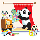 cartoon panda with toys