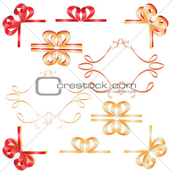 Frame of ribbon with a heart of tapes-vector illustration
