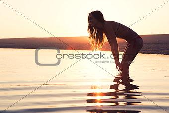 Beautiful woman in the beach