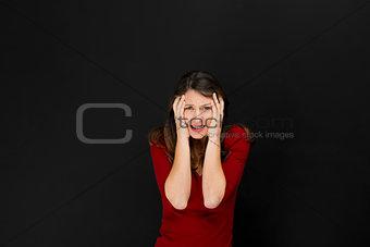 Beautiful female student with a headache