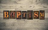 Baptism Wooden Letterpress Concept