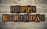 Happy Birthday Wooden Letterpress Concept
