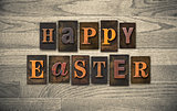 Happy Easter Wooden Letterpress Concept