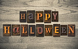 Happy Halloween Wooden Letterpress Concept