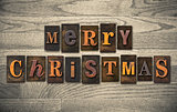 Merry Christmas Wooden Letterpress Concept