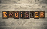 Register Wooden Letterpress Concept
