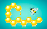 Honeycombs Honey Drop and Bee Vector Illustration