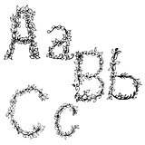 Alphabet in style of a sketch the letters A  B C