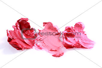 Smeared Lipstick Colors on White Background