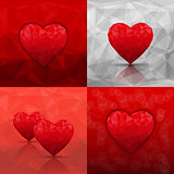 Set of abstract backgrounds with hearts in modern triangle style. Vector illustration