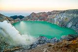 Kawah Ijen volcanic crater at morning dawn, Java, Indonesia