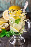 Glass with mint and lemon tea