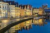 Quay Korenlei in Ghent town at evening, Belgium