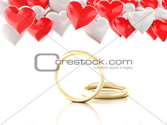 3d gold ring and Heart balloons. Valentines Day concept.