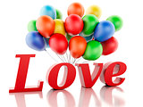 3d red love heart and balloons. Valentine's day concept isolated
