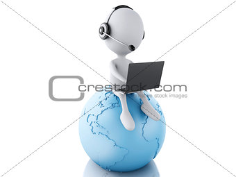 3d white person working on a laptop with headphones on blue eart