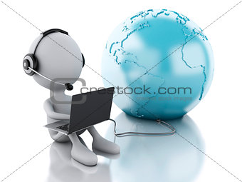 3d white person working on a laptop with headphones and earth gl