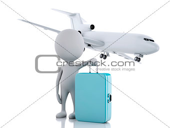 3d white people tourist with suitcases and a airplane. Travel co