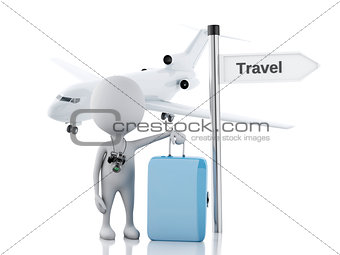 3d white people tourist with suitcases and the camera. Travel co