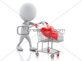 3d white people with red heart in the shopping cart.