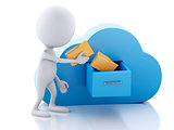 3d white people with folders and cloud. Cloud computing concept.
