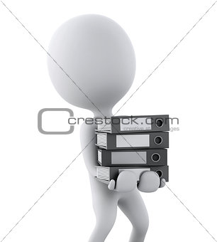 3d white people with office ring binders. isolated white backgro