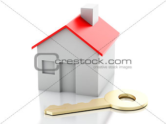 house with key on white background. Real estate concept