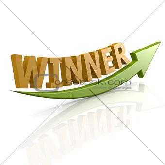Green arrow with winner word