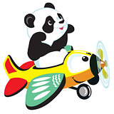 cartoon panda flaying with plane