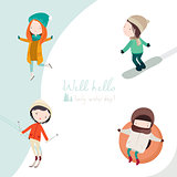 Winter activities vector set