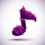 Violet musical note geometric icon made in 3d modern style, best