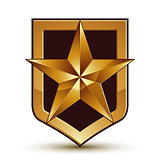 3d heraldic vector template with pentagonal golden star, dimensi