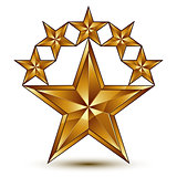 Glamorous vector template with pentagonal golden star symbol, be