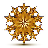 Geometric vector classic rounded golden element isolated on whit
