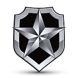 Sophisticated vector blazon with a silver star emblem, silvery 3