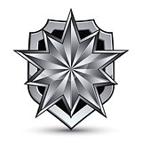 Branded gray geometric symbol, stylized silver star, best for us