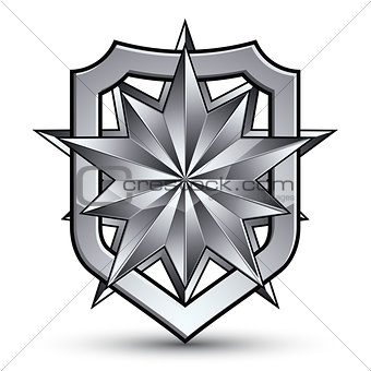 3d heraldic vector template with polygonal silver star, complica