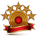 3d vector classic royal symbol with sophisticated five golden st
