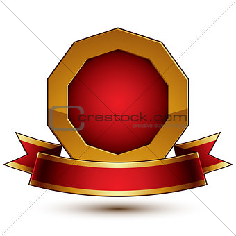 3d vector classic royal symbol, sophisticated golden ring with r