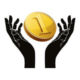 Hands with coin vector symbol.