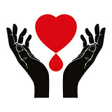 Hand with heart and blood drop vector symbol.