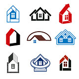Growth trend of real estate industry - simple house icons. Abstr