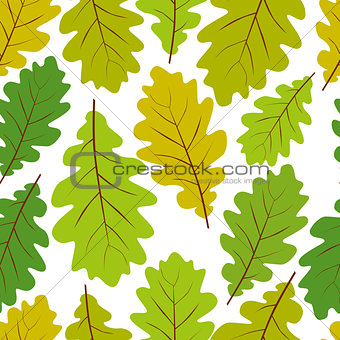 Beautiful leaves seamless pattern, vector natural endless backgr