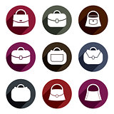 Bag vector icons set of 9 examples, fashion theme symbols collec