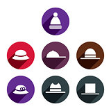 Headwear vector icon set.
