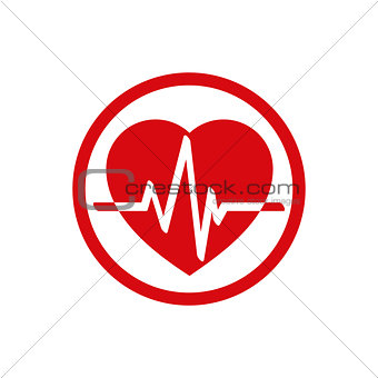 Cardiology icon with heart and cardiogram.