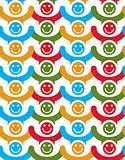 Seamless background with colorful smiley faces. People with posi