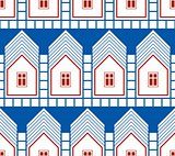 Abstract houses and cottages continuous background, real estate